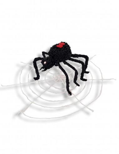 Паук черная вдова с паутиной на Хэллоуин (Бесплатный трафарет для 3D-ручки)